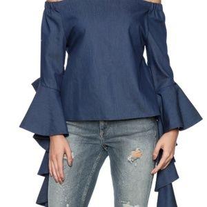 Gracia Denim Off-The-Shoulder Blouse